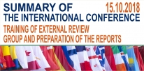 "Summary of the International Conference on Quality Assurance in Higher Education ""Training of External Review Group and Preparation of the Reports"" in 2018, 15 October"
